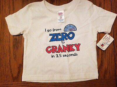 2T Little Teez ~ Funny Baby Shirt Cranky  Text White T-Shirt Girls Or Boys