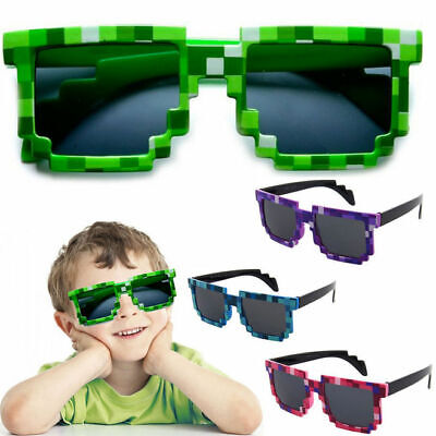 Retro Novelty Unisex Cool Pixel Glasses Pixelated Mosaic Style Square Sunglasses