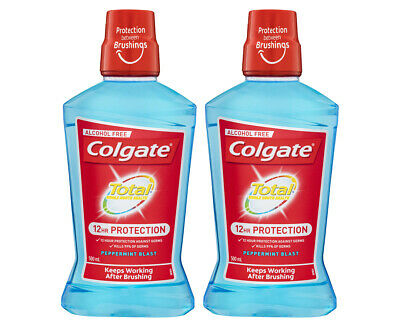 2 x Colgate Total Pro-Shield Alcohol-Free Mouthwash Peppermint Blast 500mL