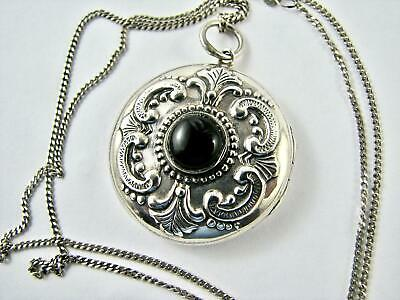 Vintage Sterling Silver & Onyx Locket English Hallmarks 1993