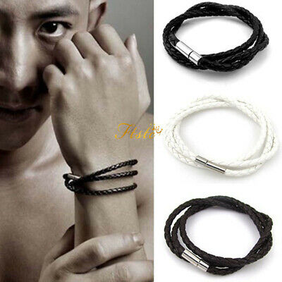 NEW Men Leather Bracelet Wristband Women Bangle Black White Brown Punk Fashion