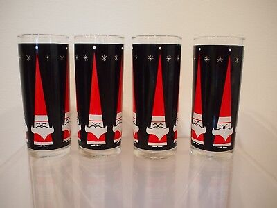 Vintage SANTA Holiday Tall Glasses Rocks Tumbler Mid Century Modern Barware MCM