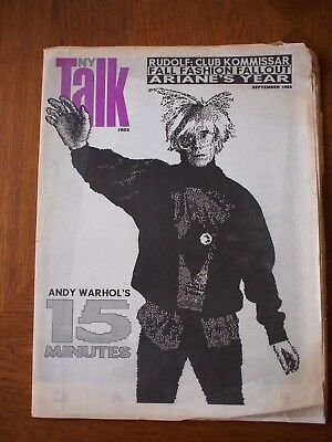Vintage ANDY WARHOL 15 Minutes 1985 NY TALK Newspaper Magazine SCARCE Danceteria