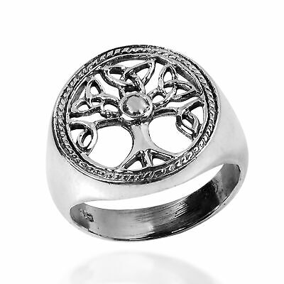Harmony Celtic Triquetra Tree of Life .925 Sterling Silver Ring-7