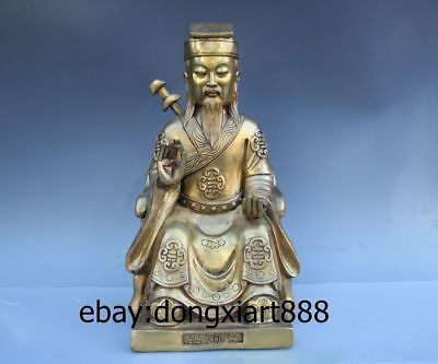 "16"" Chinese Myths Legends Eight immortals Brass Lu Dongbin Taoist priest Statue"