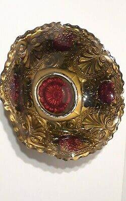 """Goofus Glass Bowl Flowers Red Gold Black Antique 9 1/2"""" Footed"""