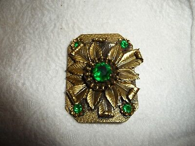 "#1/3A vtg Womens BELT BUCKLE  gold tone metal W Green Rhinestones 2"" W x 2 1/2"""
