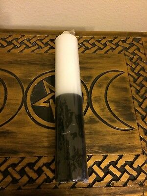 "9"" White/ Black Pillar Candle Wiccan Pagan Witchcraft Altar Supply Wicca Ritual"