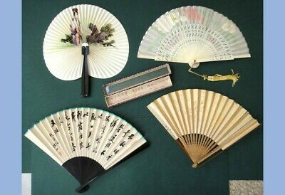 LOT vintage 4 FANS PAPER/WOOD/SILK/SANDALWOOD + box ORIENTAL HANDPAINTED