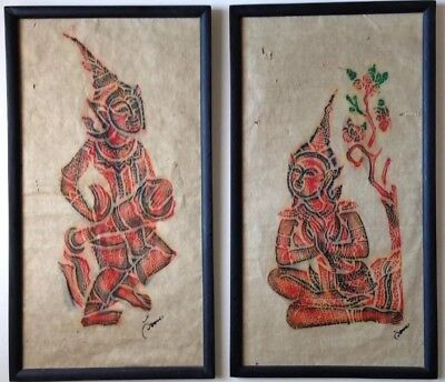 "Antique Ca. 1930s Thailand Siam Temple Rubbings On Rice Paper Signed 22"" X 12"""