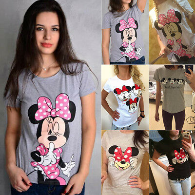 Damen Minnie Mickey Mouse Kurzarm T-Shirt Sommer Freizeit Oberteil Bluse Tee Top