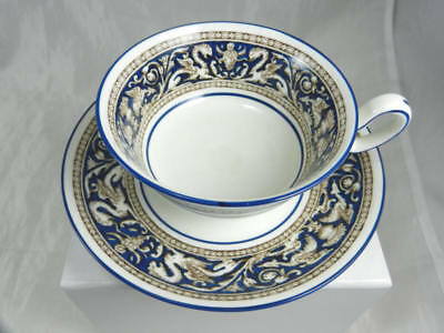 Gently Used WEDGWOOD Florentine Cobalt Blue Peony Shape Cup & Saucer