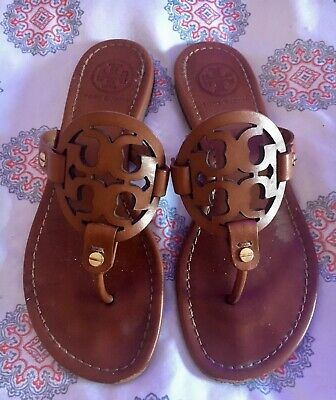 0f9535bf0 Tory Burch Vachetta Leather Miller Sandals Flats Shoes Sz 6.5 Tan
