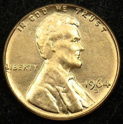 1964 D Uncirculated Lincoln Memorial Cent Penny BU (B02)