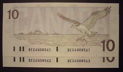Canada 2 Consecutive 1989 BC-57c $10 Notes BEG6408561-62 - GemUnc
