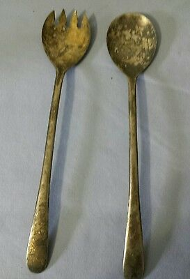 "Antique Vintage Salad Serving Set Utensils Silver Plate Italy 9.5"" Free Shipping"
