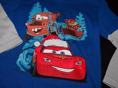 CHRISTMAS Shirt Boys Disney Cars Sz 12 mo Top NWT Lightning McQueen Holiday Blue