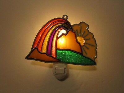 Beautiful Rainbow Over Mountains Stained Glass Style Night Light