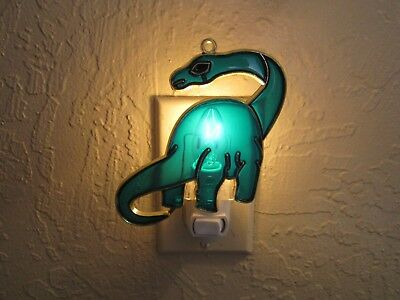 Beautiful Brontosaurus Stained Glass Style Night Light