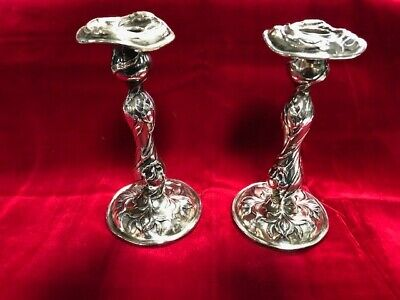 "Pair Of Dominik & Haff Art Nouveau Sterling Silver Candlesticks  7"" Tall"