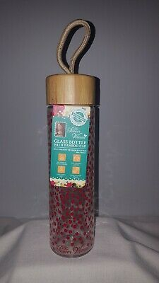 2aeeb09a8de5 NEW THE PIONEER Woman 20 oz Glass Water Bottle w/Bamboo Cap & Red ...