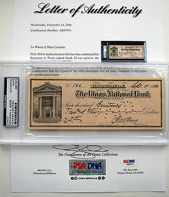 MAJOR GENERAL Benjamin Andrew Poore Autograph CHECK WWI HERO PSA/DNA U.S. ARMY