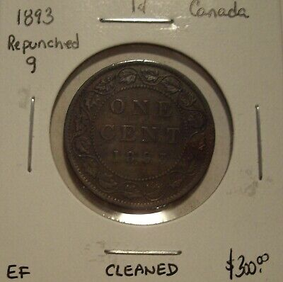 """Canada Victoria 1893 Repunched """"9"""" Large Cent - EF"""
