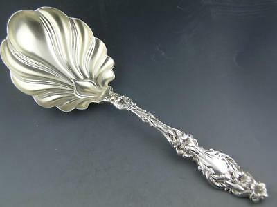 """Sterling WHITING 9 1/8"""" Lg Berry Serving Spoon LILY 1902 w/ pat. date ~no mono"""