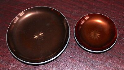 Plates 2 Vintage Olden Norway Anodized Enameled Aluminum Star Pattern Rare Brown