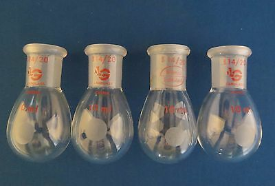 Qty 4 LabGlass 10mL  Rotary Evaporator Recovery Flasks 14/20