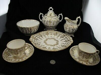 Antique Gold Tea Set Large Cream Sugar With Cake Plate & 2 Cups And Saucers