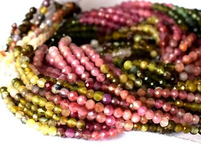 """12.5"""" Strand Fine Micro Faceted Cut Tourmaline Beads Round 2.5 Mm 1 Line #D12199"""