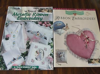 2 Pattern Booklets Ribbon & Metallic Embroidery Projects & Instructions