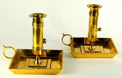-Antique c.1780 Georgian Brass Chamber Candle-holders Pair Push-up Candlesticks