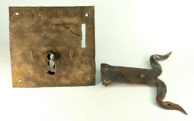 ~ Antique 17th c. Door Lock & Latch Set  Hand Forged Iron Large