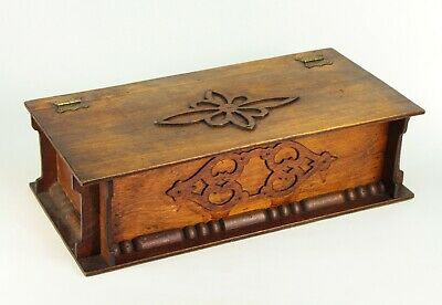 ~ Antique 1880's Fretwork Wooden Box Sewing Trinkets Jewelry Compartments Tray