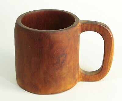 ~Antique Turned Carved Primitive Treen Ware Wooden Mug Stain Cup Bench Made