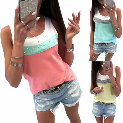 UK Womens Summer Bead Sleeveless Vest T Shirt Blouse Ladies Casual Tank Tops Tee