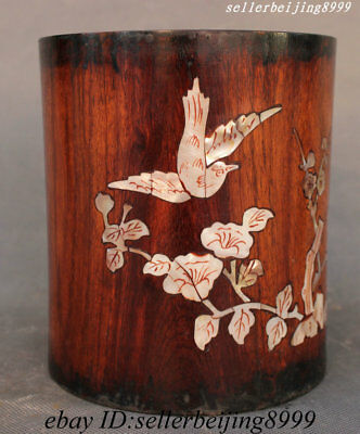 "6"" China Huali Wood Inlay Shell Flower Bird Pen Container Brush Pot Pencil Vase"