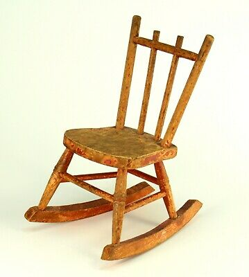 """~ Antique Late 1800's Doll House Rocking Chair Red Painted Wood 7"""""""