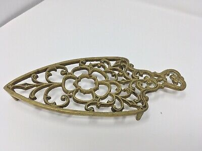 Antique English Brass Trivet Open Fret Work Footed Iron Shape 6""