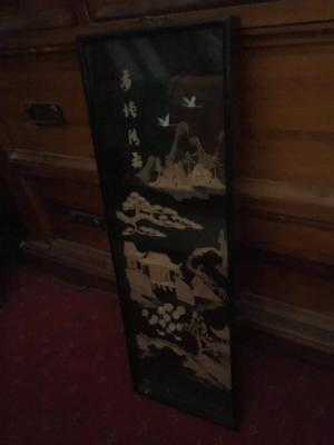 Vintage  Chinese  /Cork/Diorama Framed Picture /Black Lacquer Frame - Rare