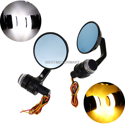 "CNC Motorcycle Bar End Mirrors Rearview Side Round 7/8"" Motorbike W/ turn signal"