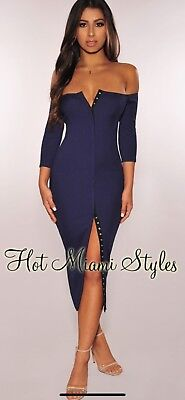 dfb0ca17 NWT HMS Hot Miami Styles Ribbed Off Shoulders Full Snap Front Midi Dress Sz  Med