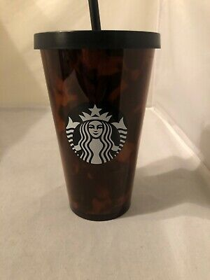 New Starbucks Cold Cup 16 oz Grande Tortoise Shell Brown Black Tumbler and Straw