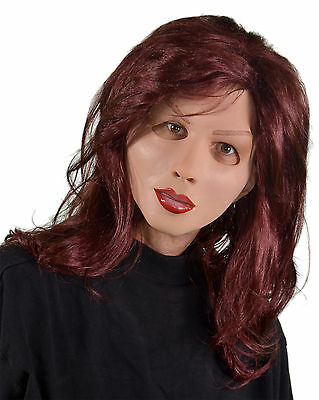 Red Head Supersoft Soft & Sexy Female Woman Latex Halloween Mask Moves with Face