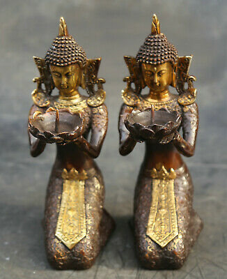 "9.1"" Chinese Bronze Gild Ancient Beautiful Woman Beauty Statue Candlestick Pair"