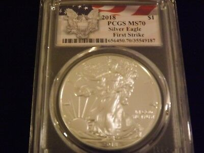 2018  $1  Eagle  First Strike Flag Label    PCGS  MS 70  NO FLAWS NICE QUALITY