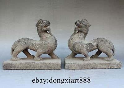 """8"""" Chinese Ancient Stone Carving Fengshui Foo Dog Lion Wing Kylin Unicorn Statue"""