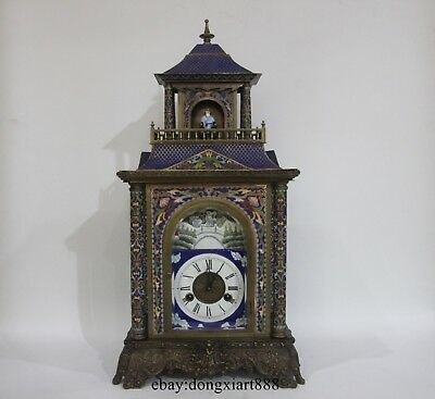 """26"""" Chinese Retro Bronze Cloisonne Eight Immortals Mechanical Swing Table Clock"""